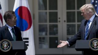 US President Donald Trump and South Korea President Moon Jae-in