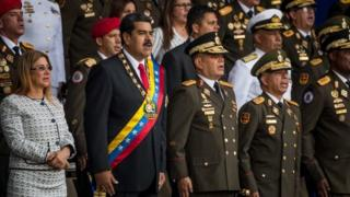 Venezuelan President Nicolás Maduro (2nd left) during an outdoor event in Caracas. Photo: 4 August 2018