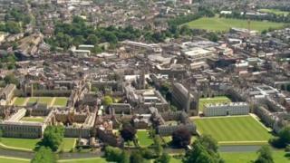 Aerial view of Cambridge