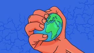 Ilustración de un puño apretando el planeta