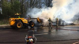 Crews tackle lorry fire