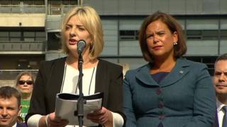 Liadh Ní Riada was praised by Sinn Féin leader Mary Lou McDonald (right) following the announcement