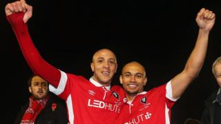 The two goal scorers Richie Allen and Danny Webber celebrate victory after the FA Cup first round match
