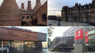 Gladstone Pottery Museum, Hanley Town Hall, Staffordshire University (Stoke campus) and The Potteries Art Gallery and Museum