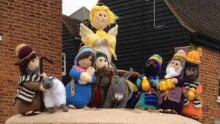 Nativity scene in Rayleigh before it was vandalised