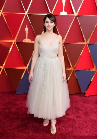 Felicity Jones arriving at the 89th Academy Awards