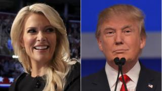 Fox News presenter Megyn Kelly (left) and Republican presidential candidate Donald Trump