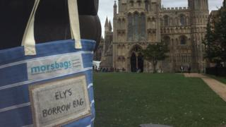Ely Cathedral and a reusable shopping bag