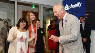 Prince Charles, Prince of Wales plays a virtual reality maze game during a visit Shopify to meet staff, intern students and pop-up shop owners during a 3 day official visit to Canada on July 1, 2017 in Ottawa, Canada.