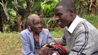 John Paul Mwirigi with his grandmother