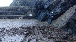 A rock fall at Mullion Harbour