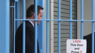 David Cameron on visit to HMP Onley