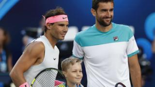 Rafael Nadal and Marin Cilic before their Australian Open quarter-final
