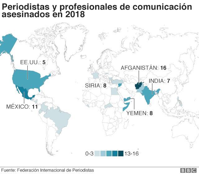 mapa de periodistas asesinados