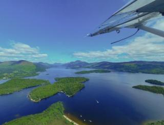 View from seaplane over Loch Lomond