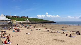 Whitmore Beach, Barry Island, was the location for the triathlon