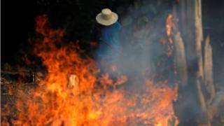 Un hombre detrás de las llamas en la selva amazónica.
