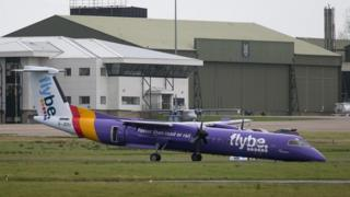 The Flybe plane after landing