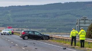 Crash scene on A9 at Dornoch Bridge