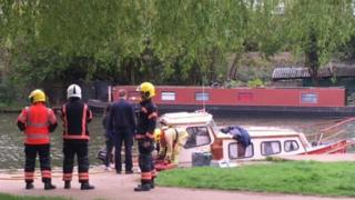 Boat in Ely after explosion