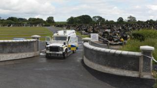 Police cordoned off St Colman's Cemetery in Lurgan