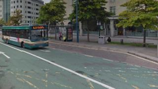 Bus driving in a bus lane in Cardiff