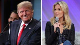 Republican presidential candidate Donald Trump and Fox News presenter Megyn Kelly