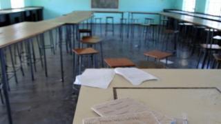 Empty classroom at Epworth secondary school near Harare