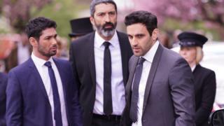 Left-right: Darius Kazemi (Ash Rizi), Umar Kazemi (Selva Rasalingham) and Kush Kazemi (Davood Ghadami)