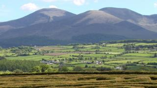 The Mourne mountains, as seen from Castlewellan Forest Park
