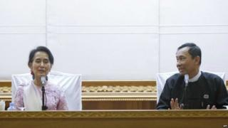 Myanmar opposition leader Aung San Suu Kyi (left) with ousted governing party leader Shwe Mann (file photo)