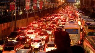 Rush hour traffic in Manila