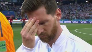 クロアチア戦の試合開始前、リオネル・メッシは深いストレスを感じているように見えた