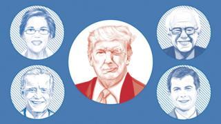 Image showing Donald Trump winking at possible Democratic challengers Elizabeth Warren, Bernie Sanders, Pete Buttigieg and Joe Biden.