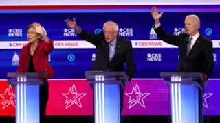 Elizabeth Warren, Bernie Sanders and Joe Biden