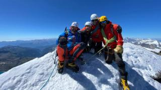 Neil Heritage (second left) at the summit of the Matterhorn