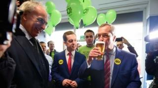"Tory MP Peter Bone (L) and Tom Pursglove MP join UKIP leader Nigel Farage in ""The Little Ale House"", in Wellingborough ahead of launch of Grassroots Out campaign"