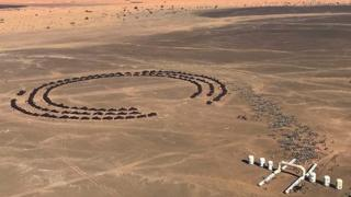 Overhead shot of the Marathon des Sables overnight camp