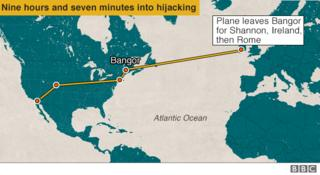 Plane leaves for Shannon then Rome - 9 hours and 7 minutes into hijack