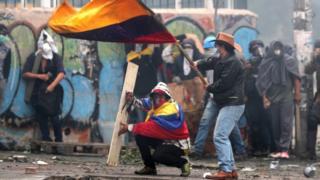 Manifestantes en Quito.
