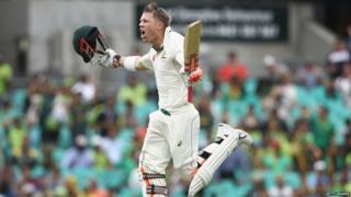 David Warner celebrates his century in Sydney