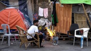 An asylum seeker at Eleonas refugee camp in Athens, Greece, 18 November 2019
