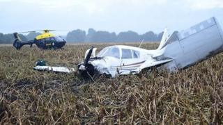 Crashed plane in potato field