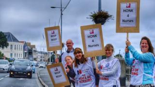 Nurses protesting in St Peter Port