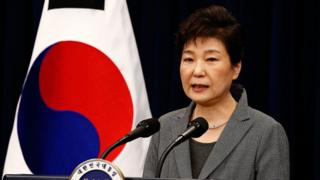 South Korean President Park Geun-Hye makes a speech during an address to the nation, at the presidential Blue House in Seoul on 29 November 2016.