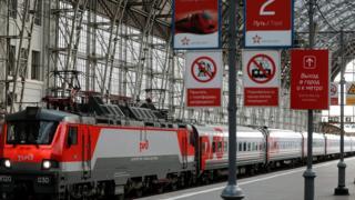 поезд на перроне Киевского вокзала в Москве