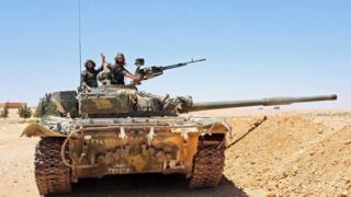 A Syrian tank near Tanf, 12 June