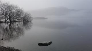 Haze over a lake