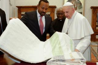 Ethiopia's Prime Minister Abiy Ahmed and Pope Francis during a private audience at the Vatican - Monday 21 January 2019