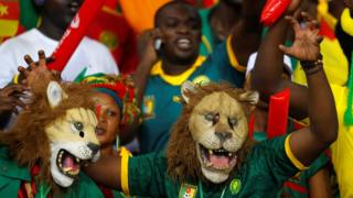Cameroonian fans dressed as lions at a Africa Cup of Nations match in Libreville, Gabon - Saturday 14 January 2017